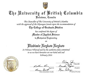 Master of Applied Science in Mechanical Engineering